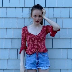 Urban Outfitters 3/4 Sleeve Floral Blouse
